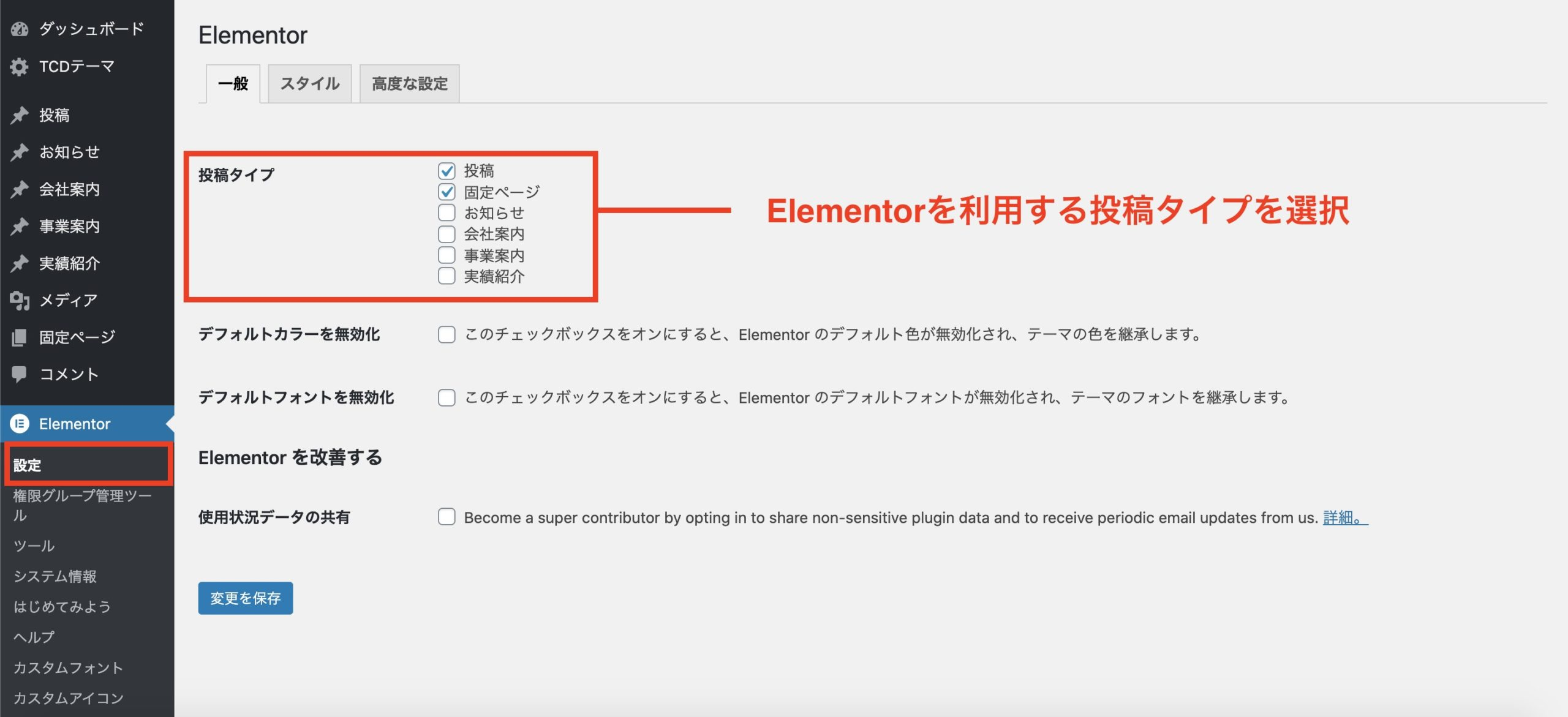 Elementorを利用する投稿タイプを選択