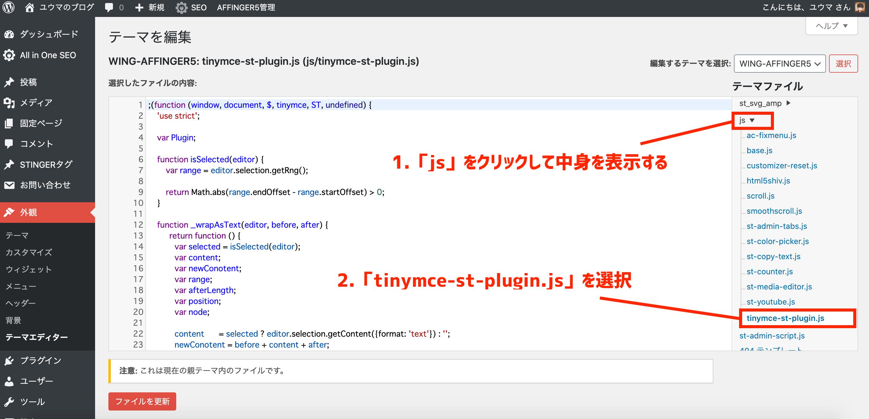テーマファイル「tinymce-st-plugin.js」を選択