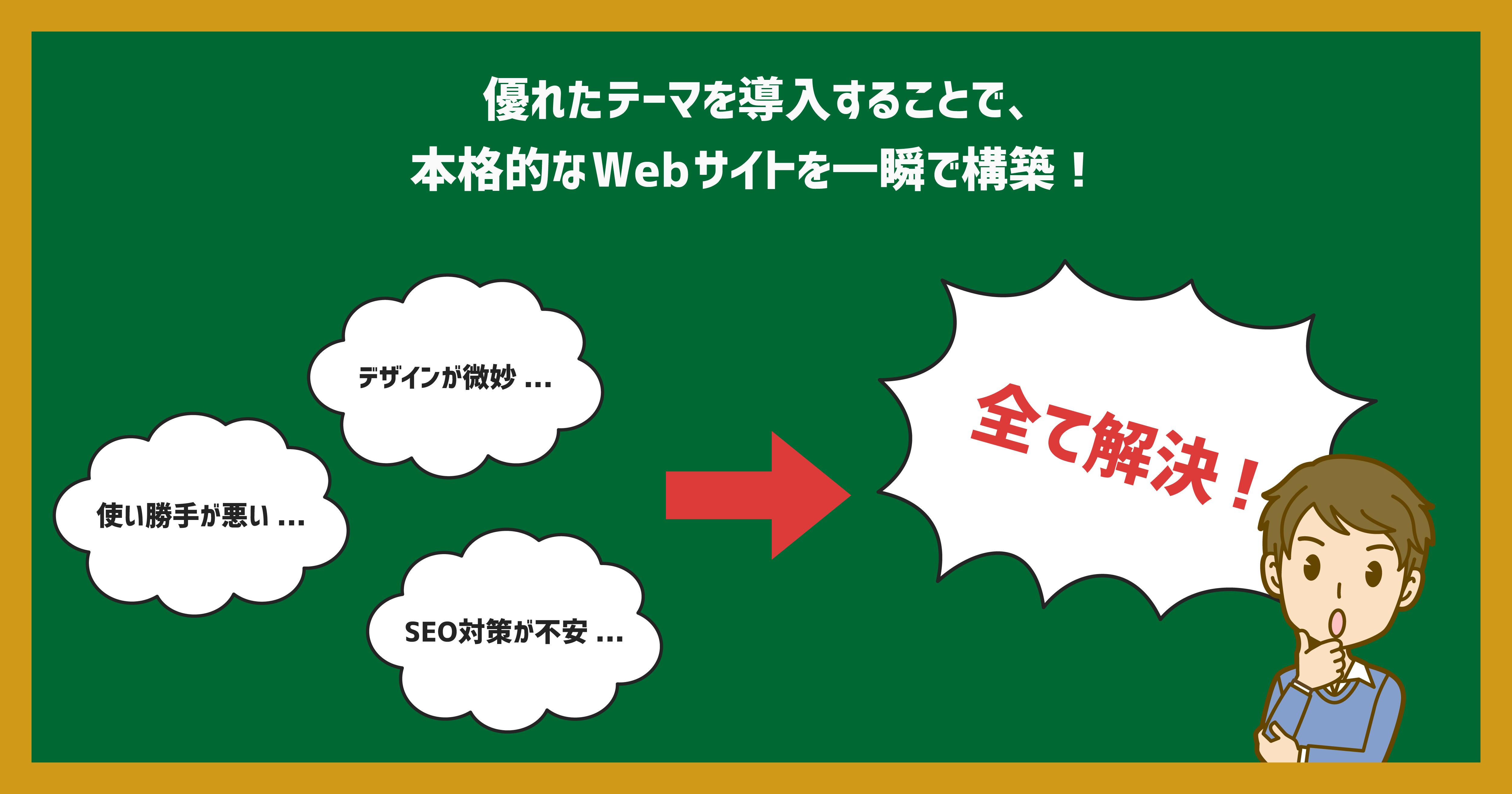 優れたテーマを導入することで、本格的なWebサイトを一瞬で構築