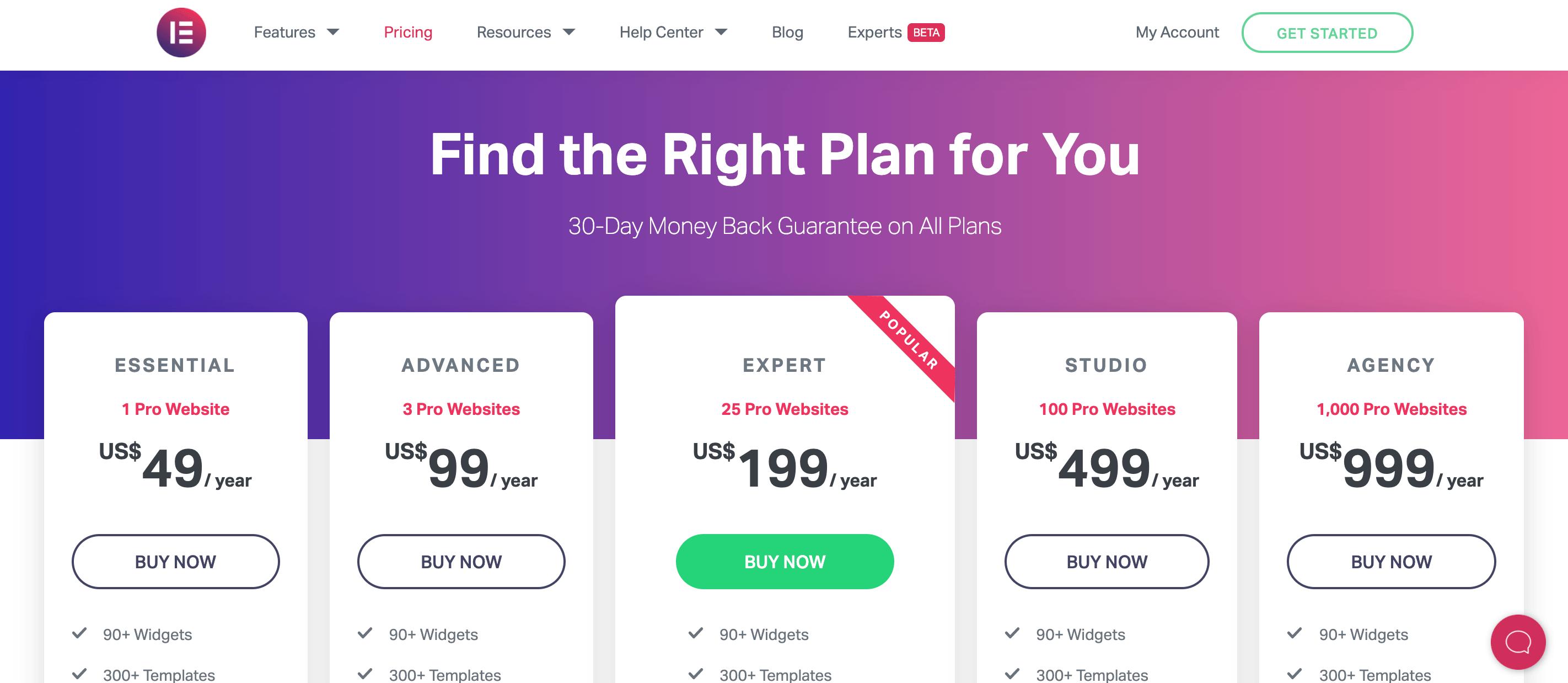 Elementor有料版の価格