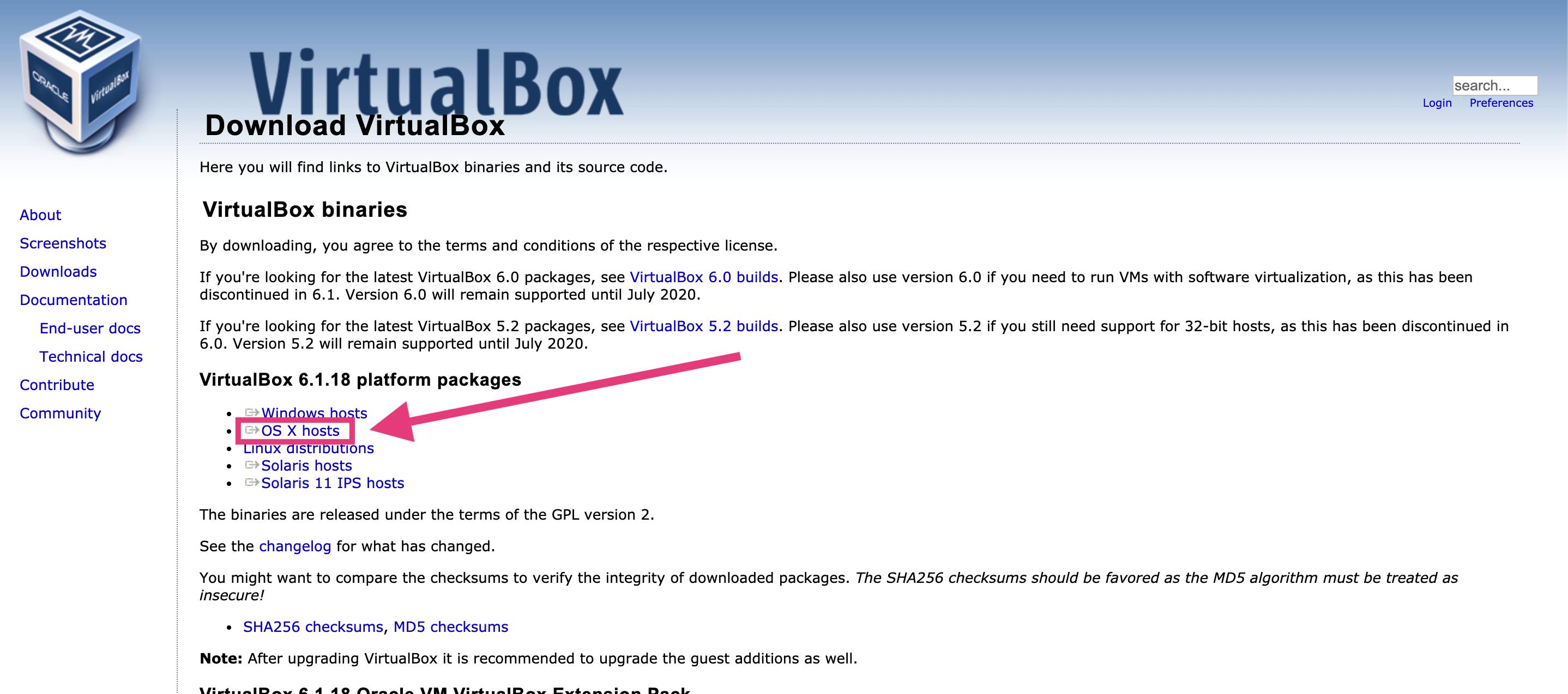 VirtualBoxをダウンロード&インストール