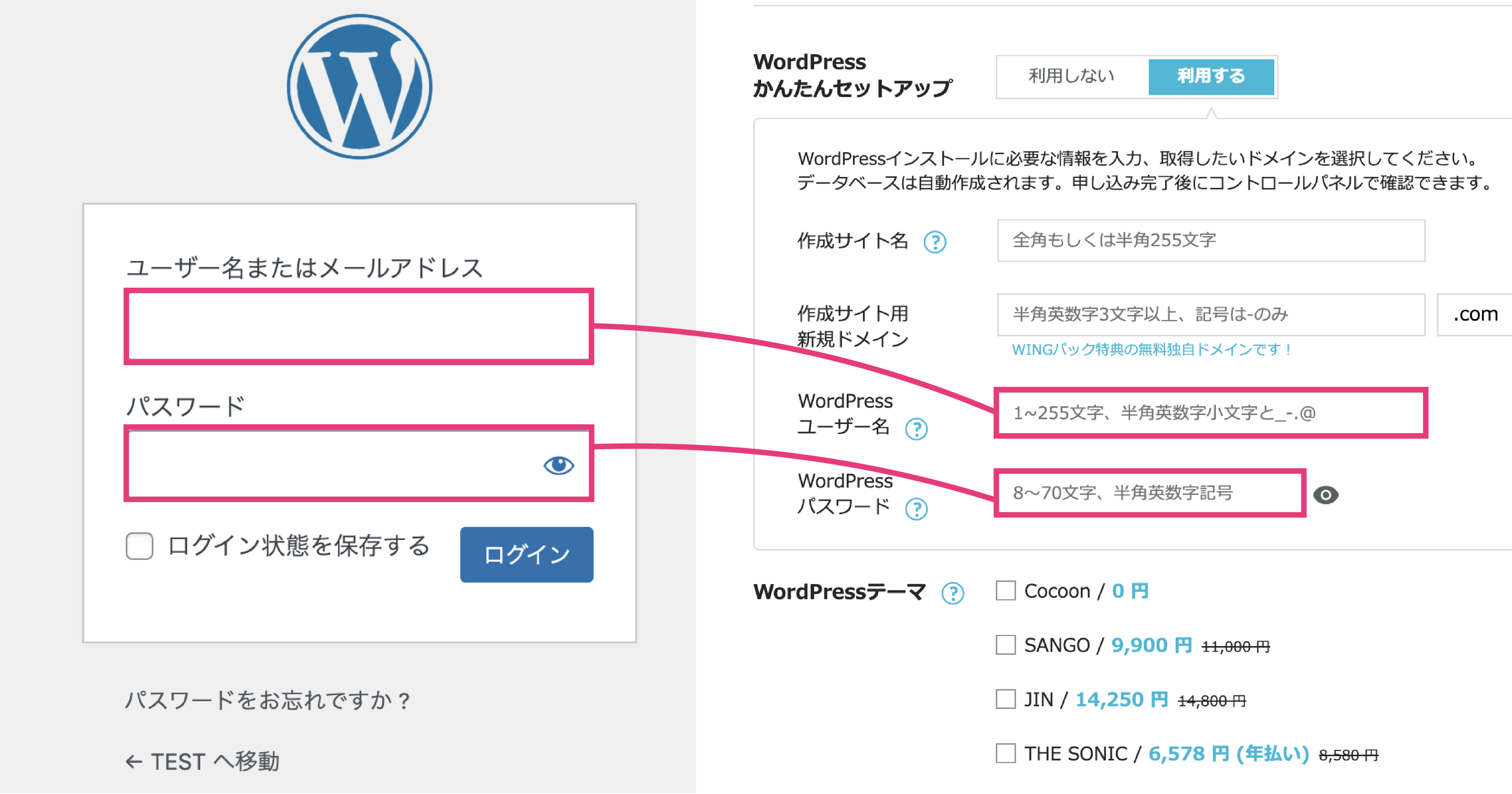 WordPressのログイン情報